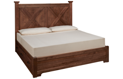Vaughan-Bassett Cool Rustic King X Low Profile Bed with Storage