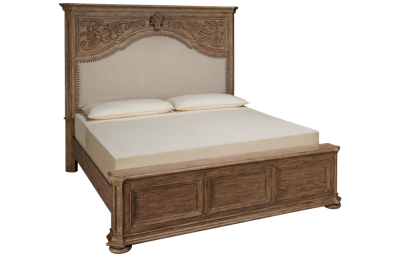 Klaussner Home Furnishings Cardoso King Upholstered Panel Bed with Nailhead