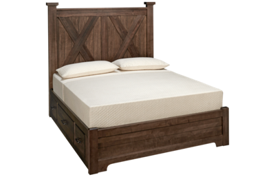 Vaughan-Bassett Cool Rustic Queen Low Profile X Bed with Storage