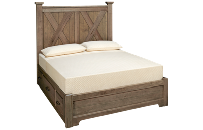 Vaughan-Bassett Cool Rustic Queen X Low Profile Bed with 2 Storage Sides