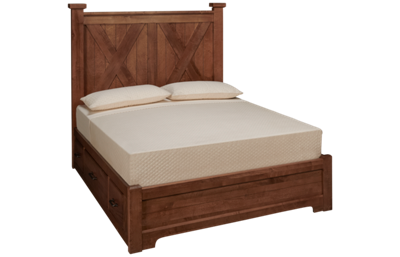 Vaughan-Bassett Cool Rustic Queen X Low Profile Bed with 2 Storage Units