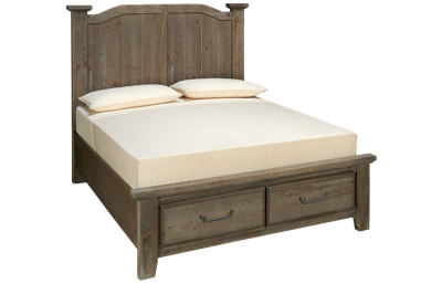 Vaughan-Bassett Sawmill Queen Arched Storage Bed