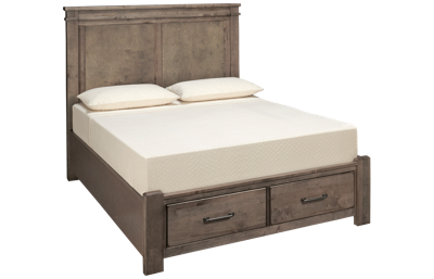 Vaughan-Bassett Cool Rustic Queen Mansion Bed with Storage Footboard