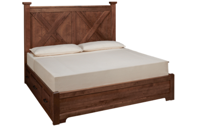 Vaughan-Bassett Cool Rustic King X Low Profile Bed with 2 Storage Units