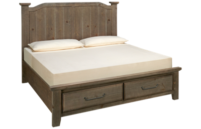 Vaughan-Bassett Sawmill King Arched Storage Bed