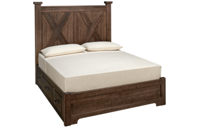 Vaughan-Bassett Cool Rustic Queen Low Profile X Bed with 2 Storage Sides