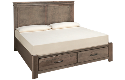 Vaughan-Bassett Cool Rustic King Mansion Bed with Storage Footboard