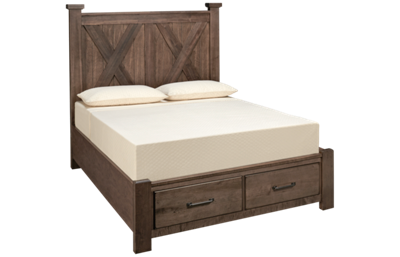 Vaughan-Bassett Cool Rustic Queen X Bed with Storage Footboard