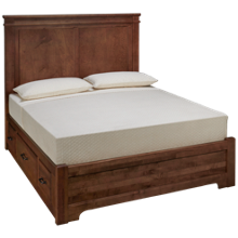 Vaughan-Bassett Cool Rustic Queen Mansion Low Profile Bed with Side Storage