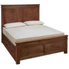 Vaughan-Bassett Cool Rustic Queen Mansion Bed with Side Storage