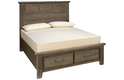 Vaughan-Bassett Sawmill Queen Louvered Storage Bed