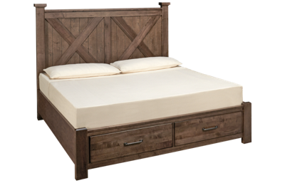 Vaughan-Bassett Cool Rustic King X Bed with Storage Footboard