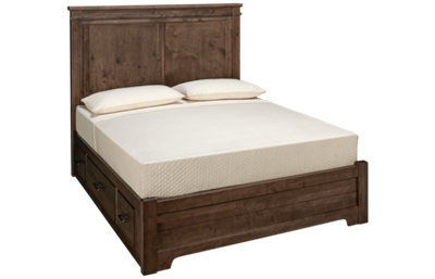 Vaughan-Bassett Cool Rustic Queen Low Profile Mansion Bed with Storage