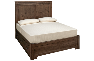 Vaughan-Bassett Cool Rustic Queen Low Profile Mansion Bed with 2 Storage Sides
