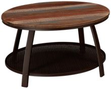 International Furniture Direct Antique Iron Barrel Round Cocktail Table