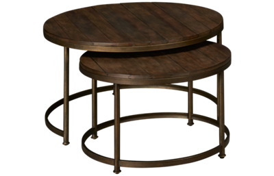 Hammary Leone Round Nesting Cocktail Table Set