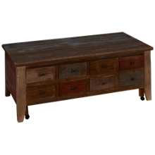 International Furniture Direct  Antique Multicolor Cocktail Table with Casters