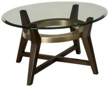 Bassett Mirror Elston Round Glass Cocktail Table