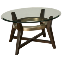 Bassett Mirror Elston Round Glass Cocktail Table