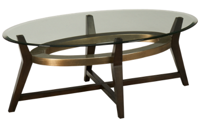 Bassett Mirror Elston Oval Glass Cocktail Table