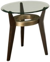 Bassett Mirror Elston Round Glass Spot End Table