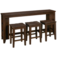 Jofran Madison County Sofa Table with 3 Counter Stools