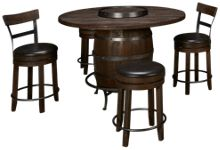 Sunny Designs Harry 5 Piece Round Pub Table Dining Set