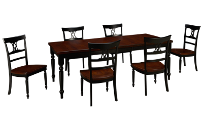 Canadel Thick Top Table with 6 Side Chairs