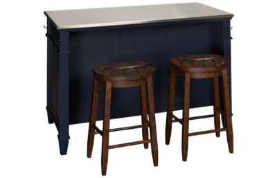 Klaussner Home Furnishings Trisha Yearwood Home Island and Two Counter Stools