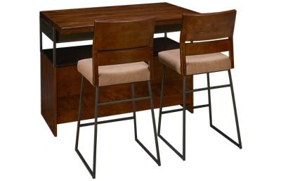 Canadel Loft Kitchen Island and 2 Upholstered Stools