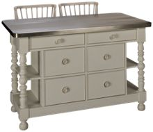 Universal Cottage Kitchen Island and 2 Counter Stools
