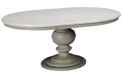 Universal Summer Hill Gray Round Pedestal Table with Leaf