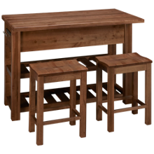 Vaughan-Bassett Simply Dining 3 Piece Counter Height Island Set
