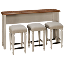 Klaussner Home Furnishings Nashville Sofa Bar Table with 3 Stools