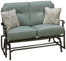 Agio International Melbourne Loveseat Glider with 2 Toss Pillows
