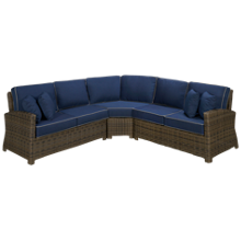 NorthCape Bainbridge 3 Piece Outdoor Sectional with 4 Toss Pillows