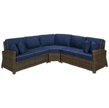 Swell Northcape Bainbridge 3 Piece Outdoor Sectional With 4 Toss Pillows Inzonedesignstudio Interior Chair Design Inzonedesignstudiocom