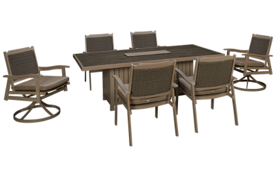 Agio International Lakehouse 7 Piece Outdoor Dining Set with Firepit