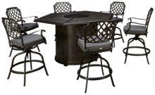 Agio International Madison 7 Piece Fire Pit Table Set