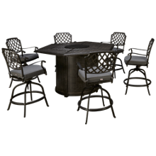 Agio International Madison 7 Piece Fire Pit Table Set