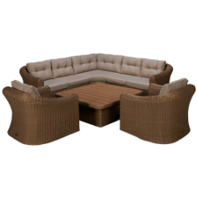 ScanCom Martinique Sectional with Table and Chairs