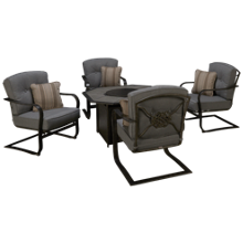Agio International Madison Gas Fire Pit with 4 Chairs