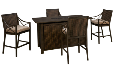 Agio International Davenport Bar Fire Pit with 4 Bar Stools