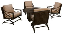 Agio International Davenport Gas Fire Pit with 4 Rocker Chairs