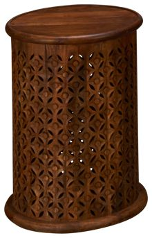 Jofran Global Archive Carved Drum Table