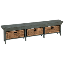 Sunny Designs Manor House Long Bench with 3 Woven Baskets