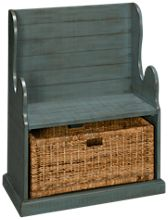 Sunny Designs Manor House Hall Seat with Rattan Basket
