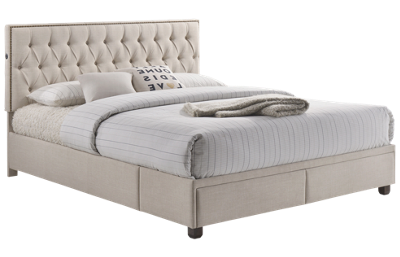 Accentrics Home All-In-One Upholstered Queen Bed With USB