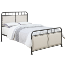 Accentrics Home Queen All In One Upholstered Metal Bed