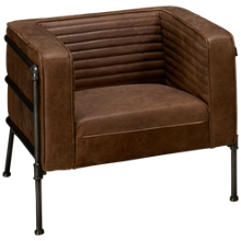 Accentrics Home Modern Authentics Channeled Leather Chair